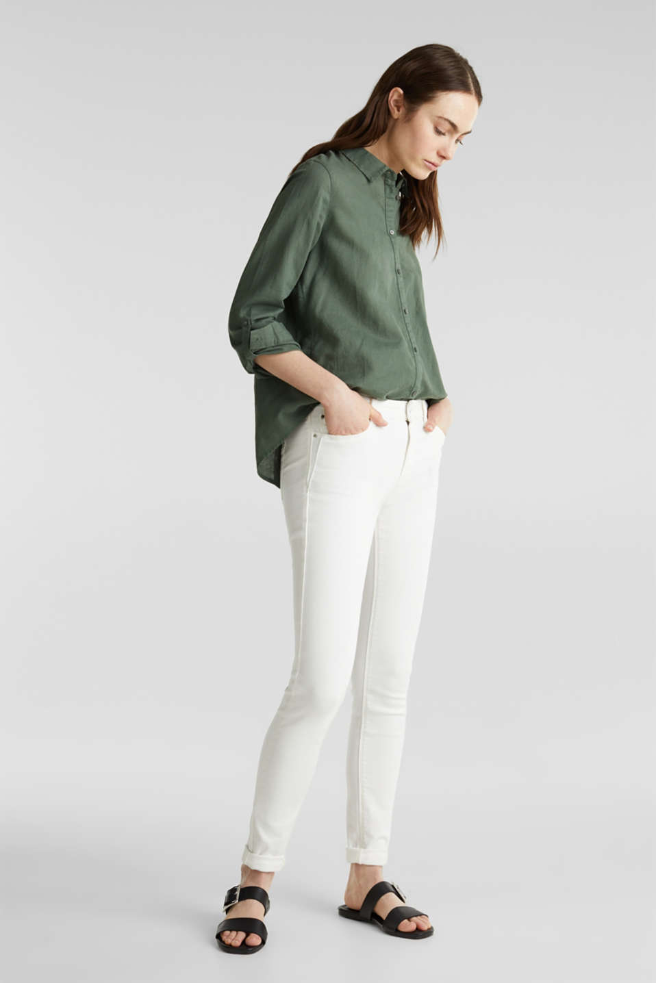 Linen blend: Blouse with turn-up sleeves, KHAKI GREEN, detail image number 0