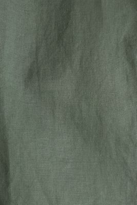 Linen blend: Blouse with turn-up sleeves, KHAKI GREEN, detail