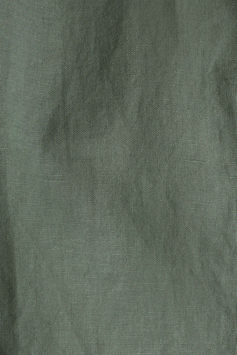 Linen blend: Blouse with turn-up sleeves, KHAKI GREEN, detail image number 3