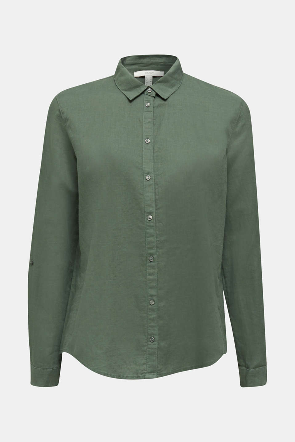 Linen blend: Blouse with turn-up sleeves, KHAKI GREEN, detail image number 5