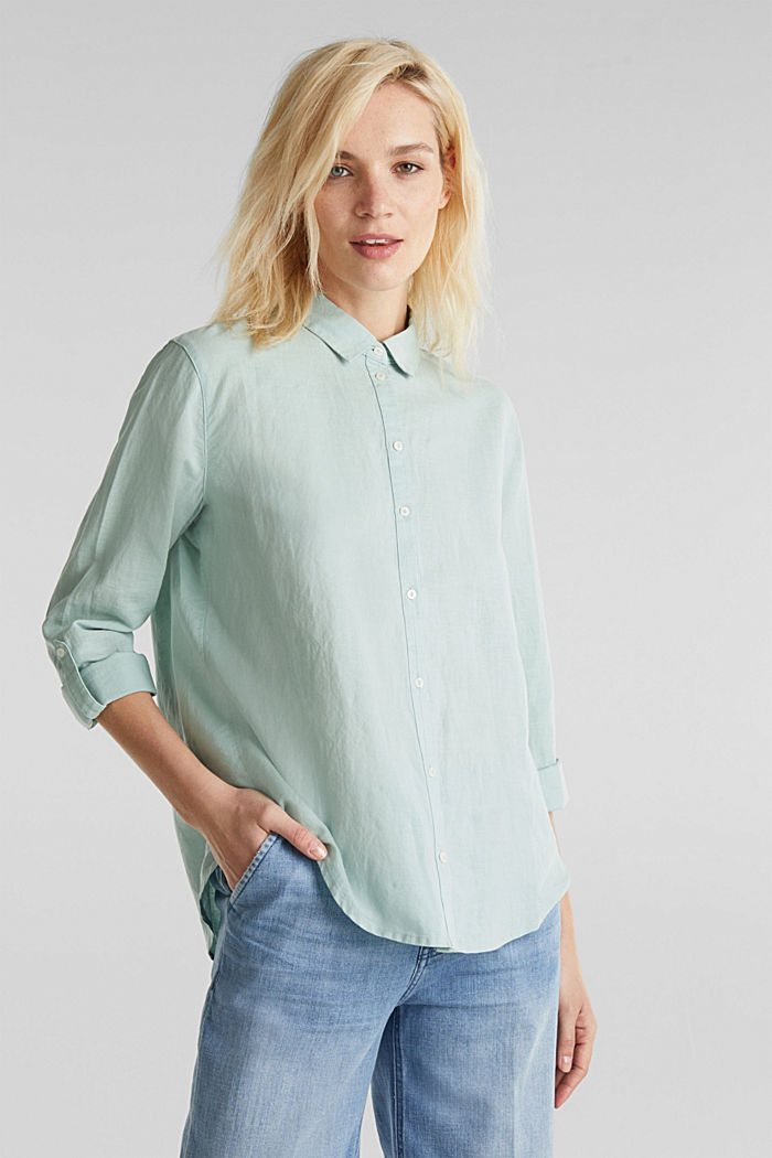 Linen blend: simply styled blouse, LIGHT AQUA GREEN, detail image number 0