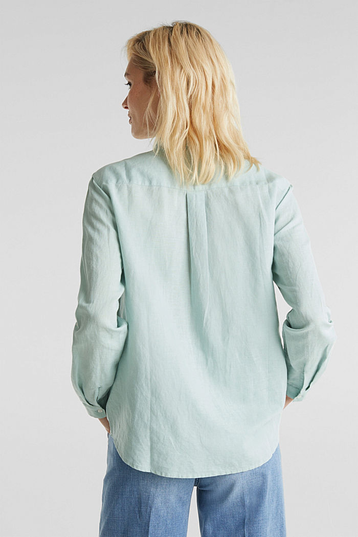 Linen blend: simply styled blouse, LIGHT AQUA GREEN, detail image number 3