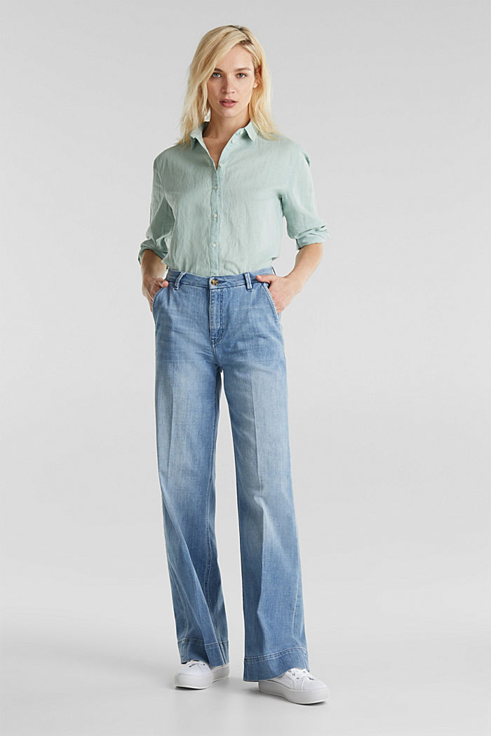 Linen blend: simply styled blouse, LIGHT AQUA GREEN, detail image number 1
