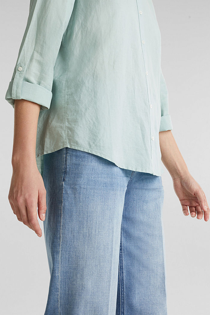 Linen blend: simply styled blouse, LIGHT AQUA GREEN, detail image number 2