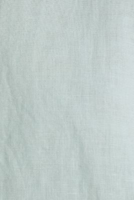 Linen blend: Blouse with turn-up sleeves, LIGHT AQUA GREEN, detail