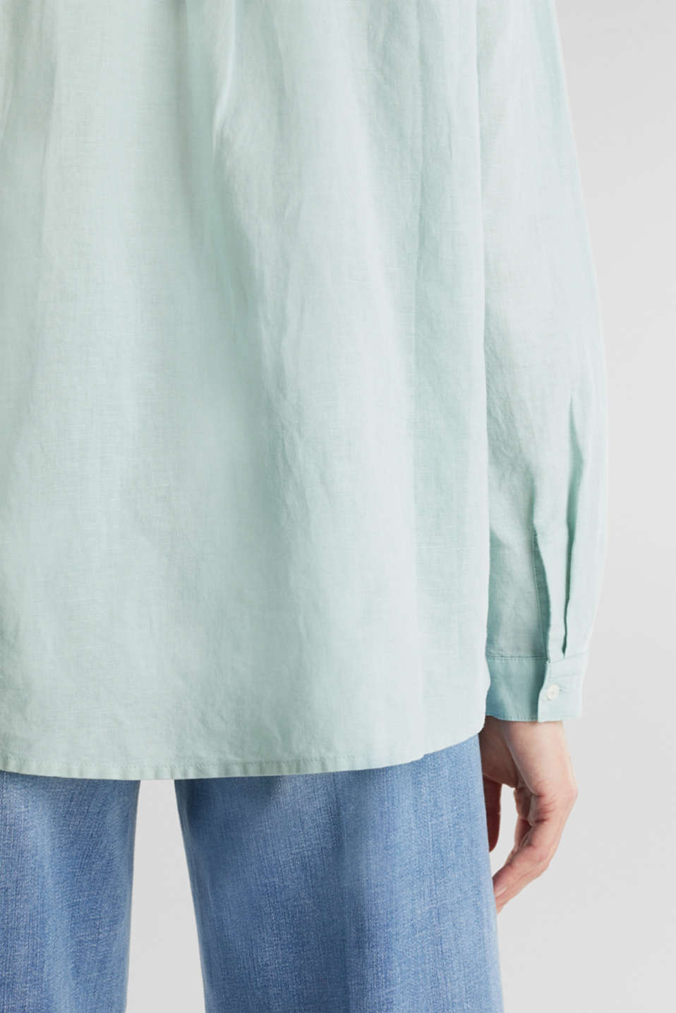 Linen blend: simply styled blouse, LIGHT AQUA GREEN, detail image number 5