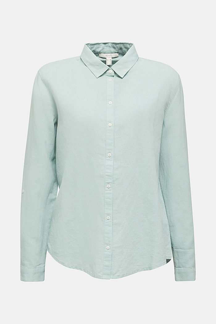 Linen blend: simply styled blouse, LIGHT AQUA GREEN, detail image number 7