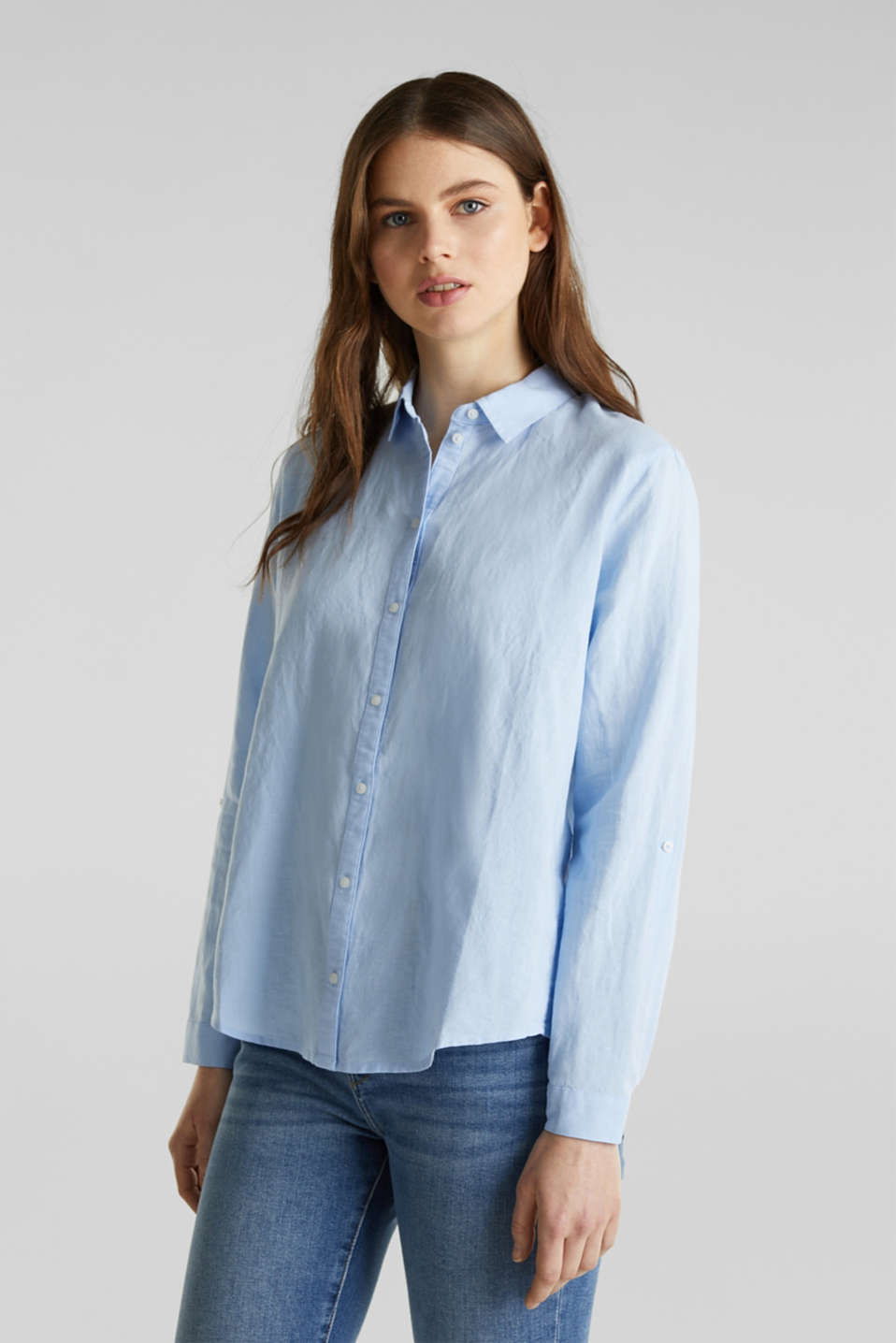Linen blend: Blouse with turn-up sleeves, LIGHT BLUE, detail image number 0