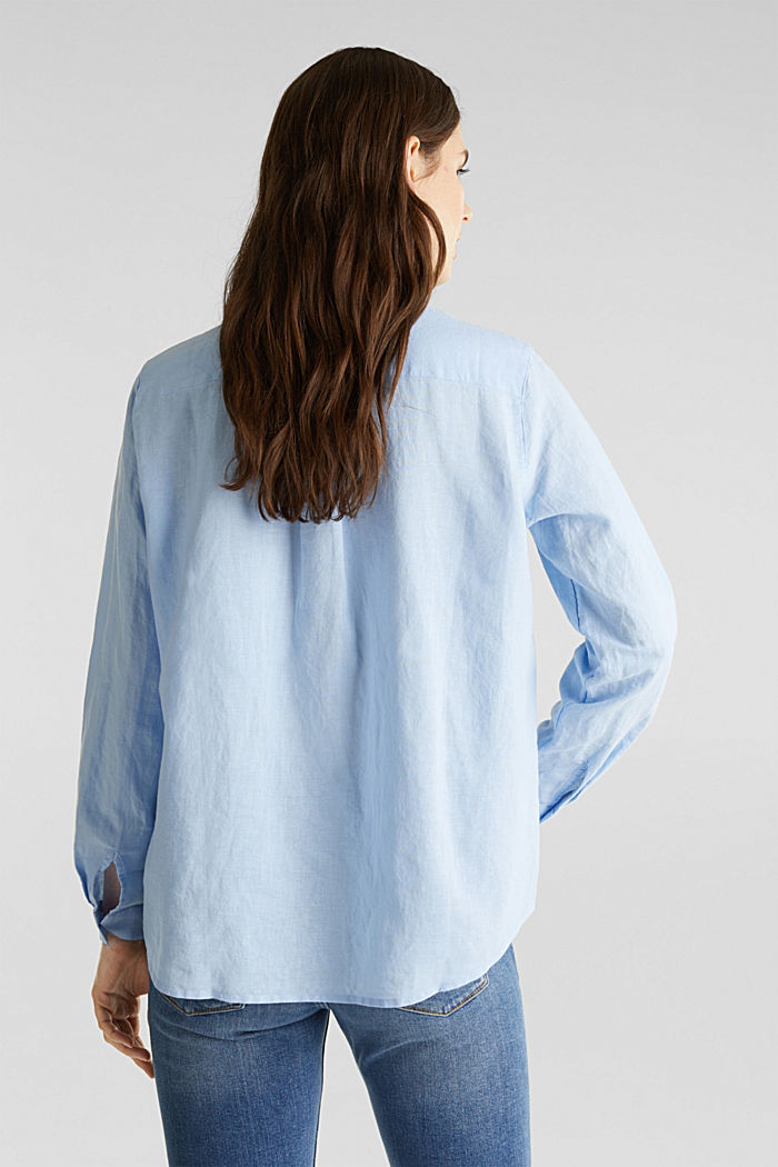 Linen blend: simply styled blouse, LIGHT BLUE, detail image number 3