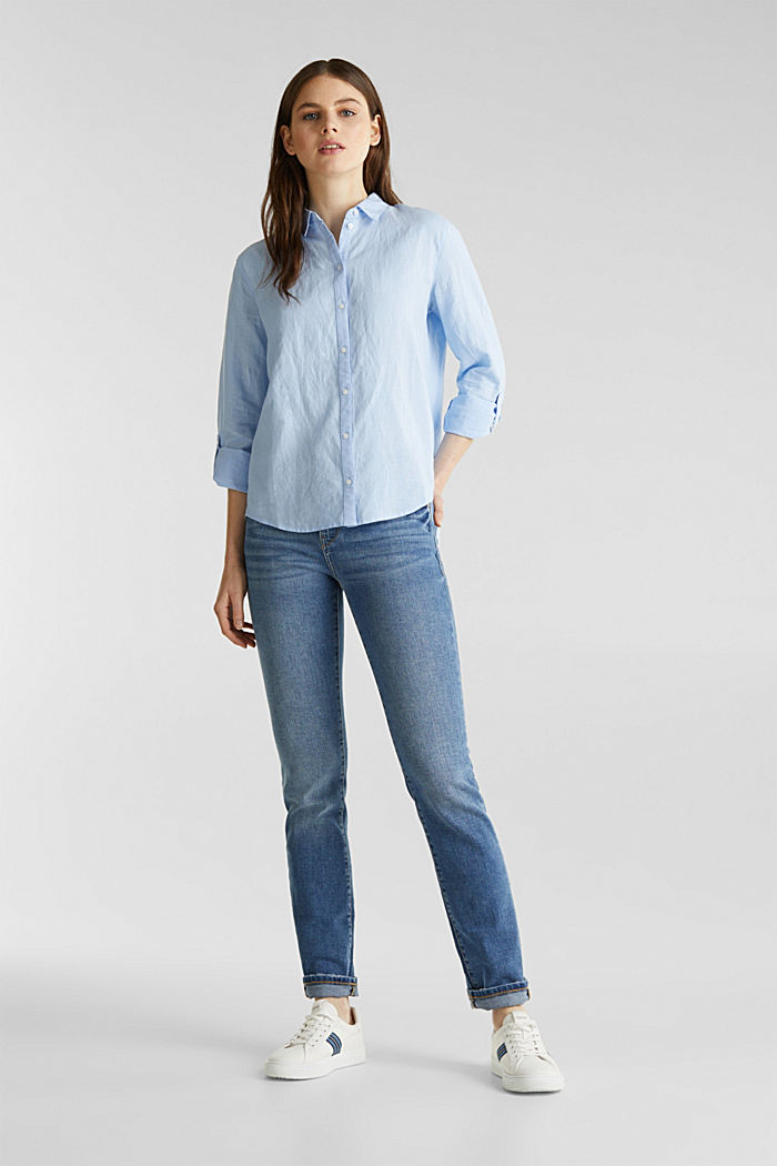 Linen blend: simply styled blouse, LIGHT BLUE, detail image number 1
