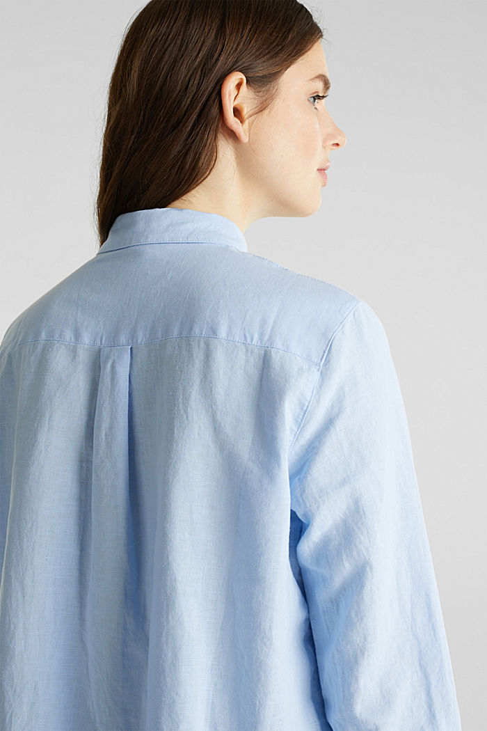 Linen blend: simply styled blouse, LIGHT BLUE, detail image number 6