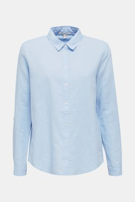 Linen blend: Blouse with turn-up sleeves, LIGHT BLUE, detail