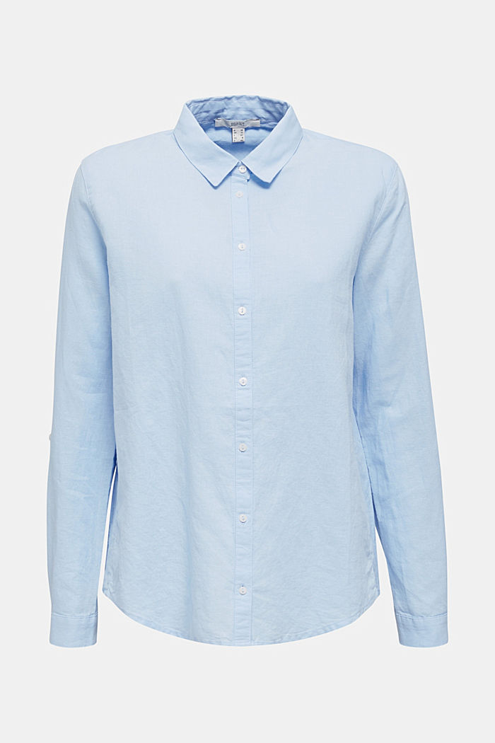 Linen blend: simply styled blouse, LIGHT BLUE, detail image number 9