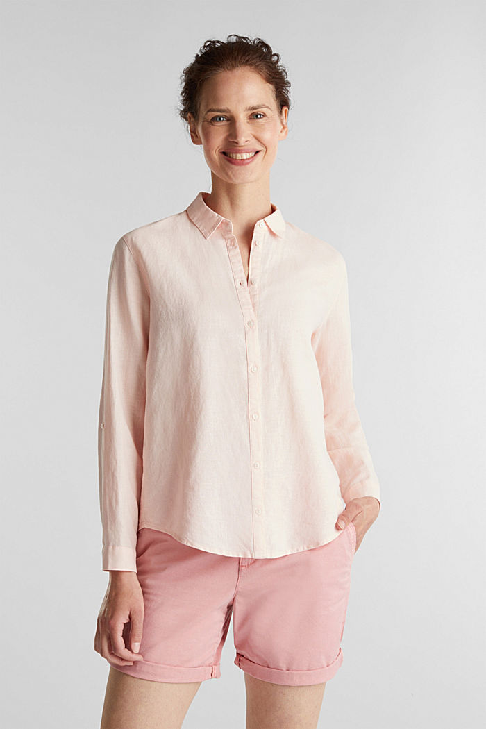 Linen blend: simply styled blouse, LIGHT PINK, detail image number 0