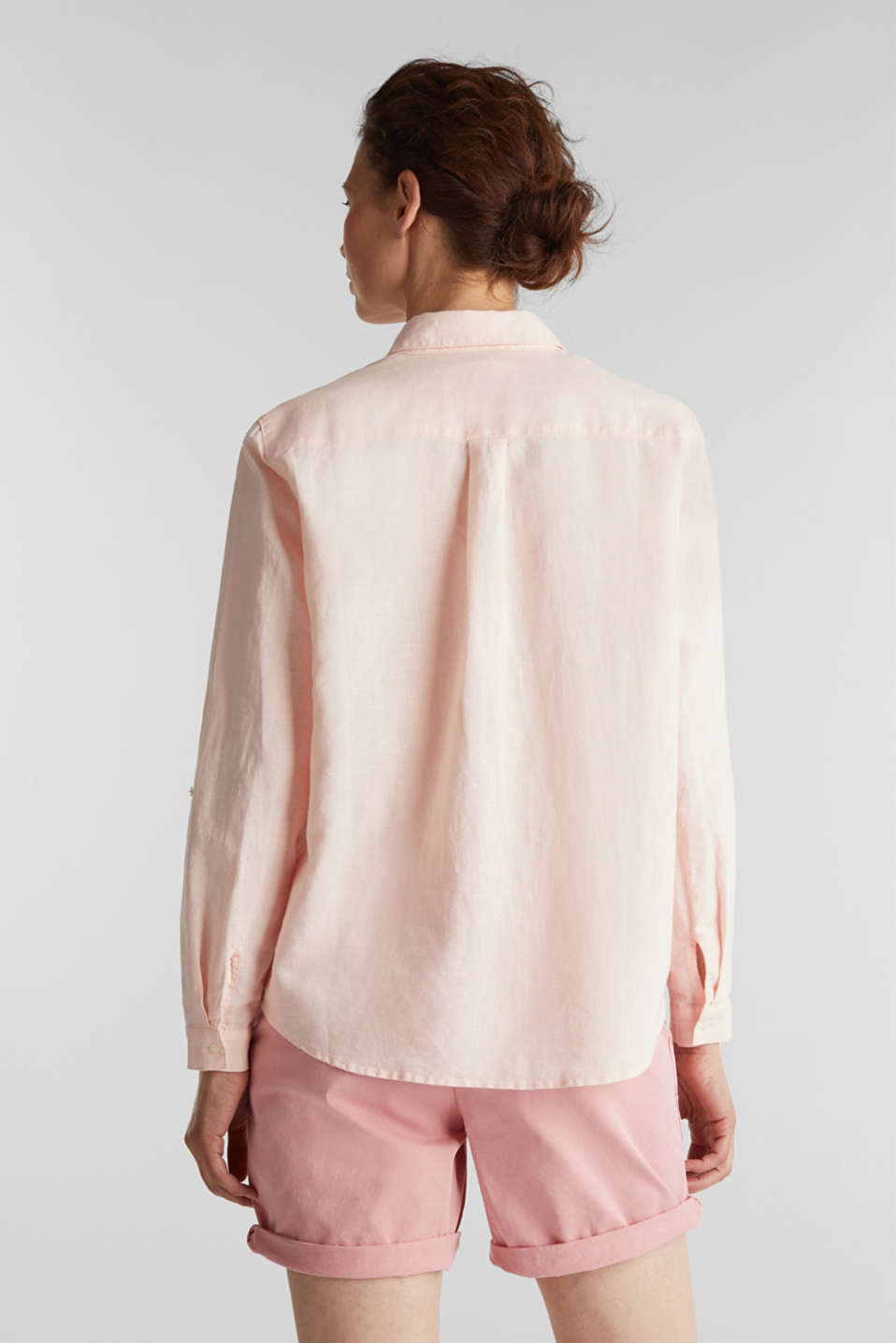 Linen blend: simply styled blouse, LIGHT PINK, detail image number 3