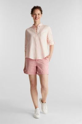 Linen blend: simply styled blouse, LIGHT PINK, detail