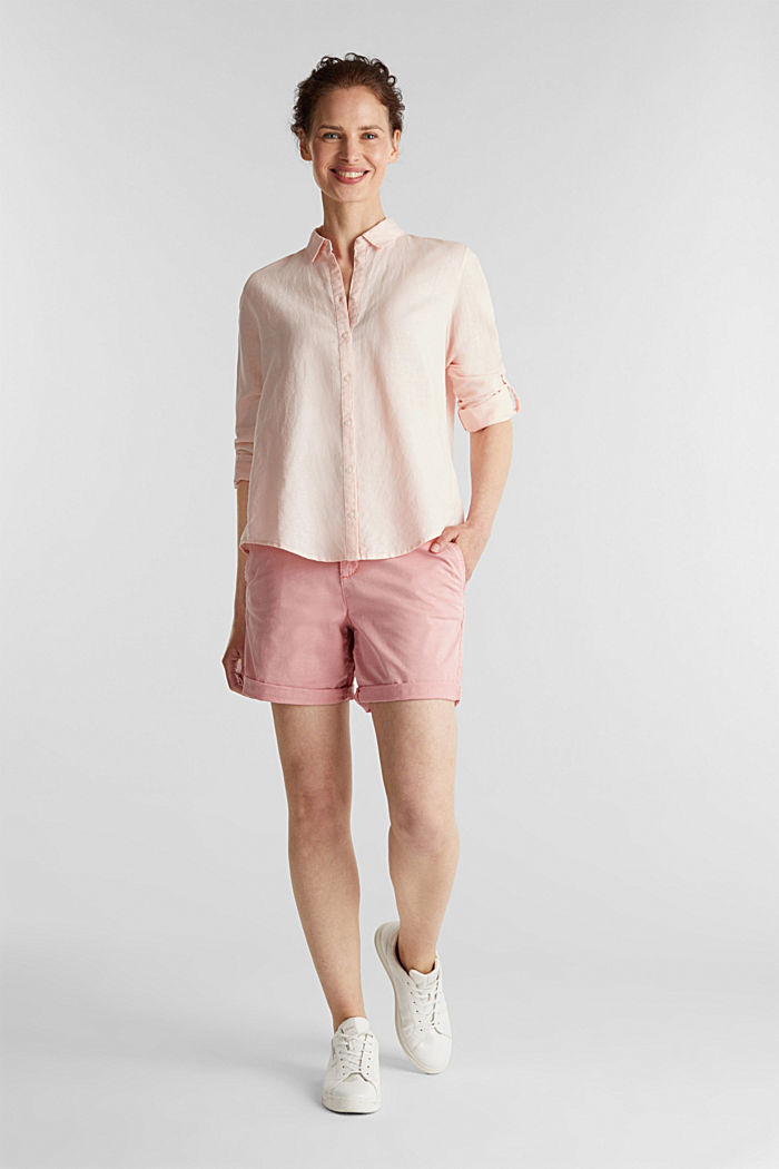 Linen blend: simply styled blouse, LIGHT PINK, detail image number 1