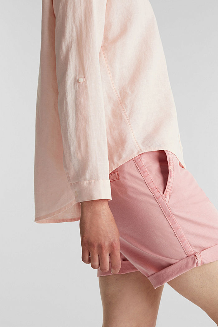 Linen blend: simply styled blouse, LIGHT PINK, detail image number 2