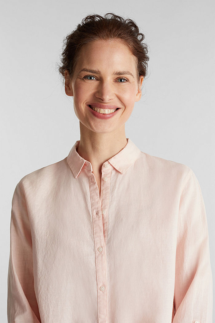 Linen blend: simply styled blouse, LIGHT PINK, detail image number 5