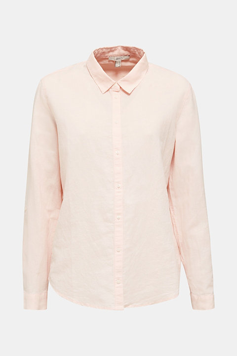 Linen blend: Blouse with turn-up sleeves