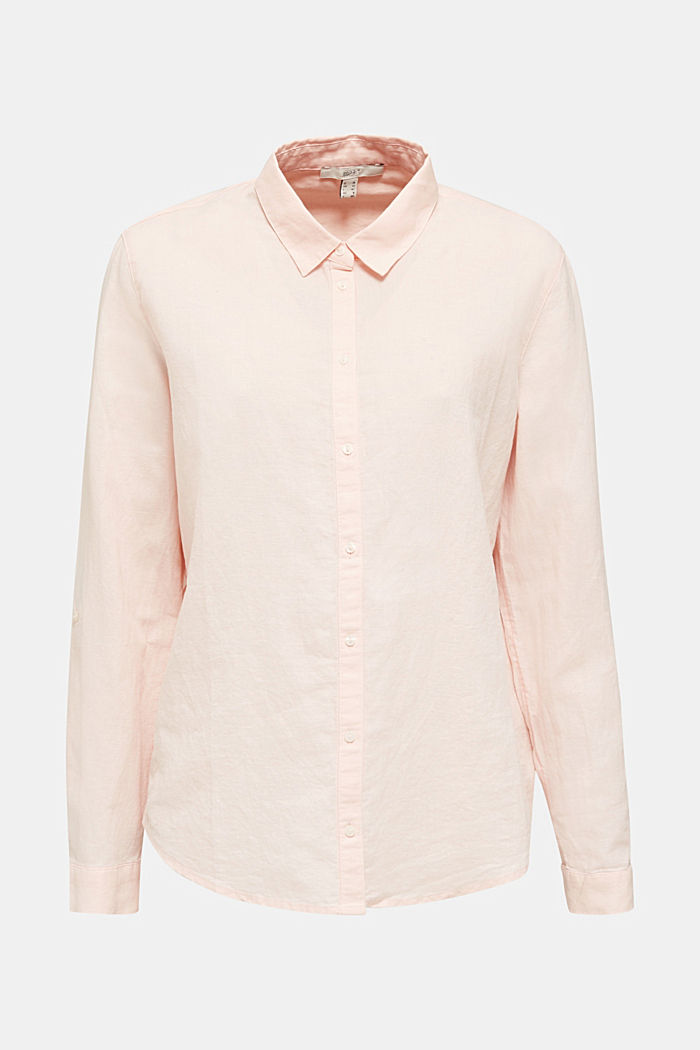 Linen blend: simply styled blouse, LIGHT PINK, detail image number 6