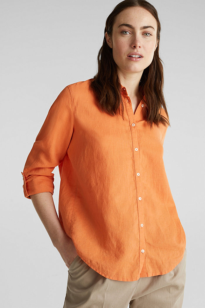 Linen blend: simply styled blouse, RUST ORANGE, detail image number 0