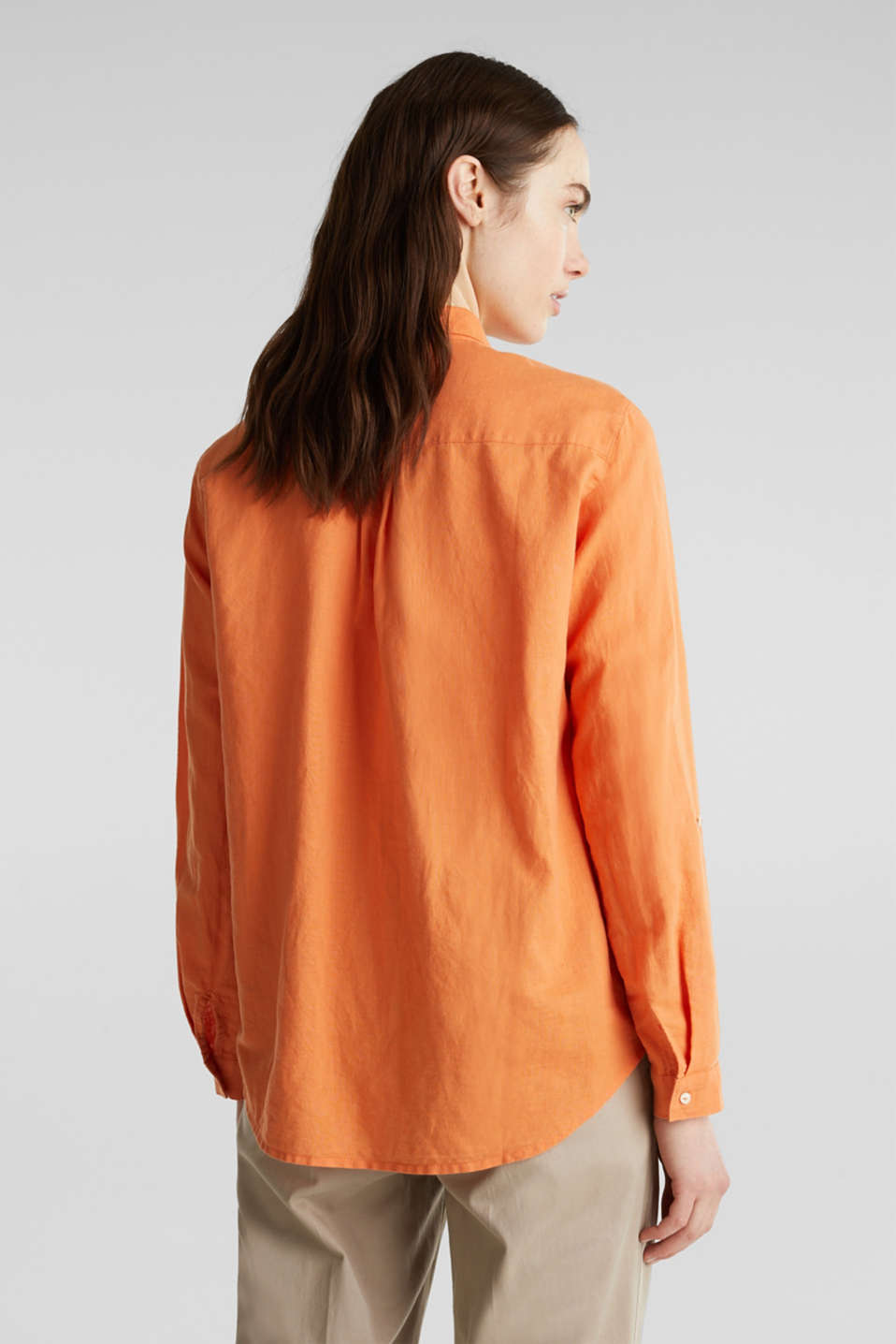 Linen blend: simply styled blouse, RUST ORANGE, detail image number 3