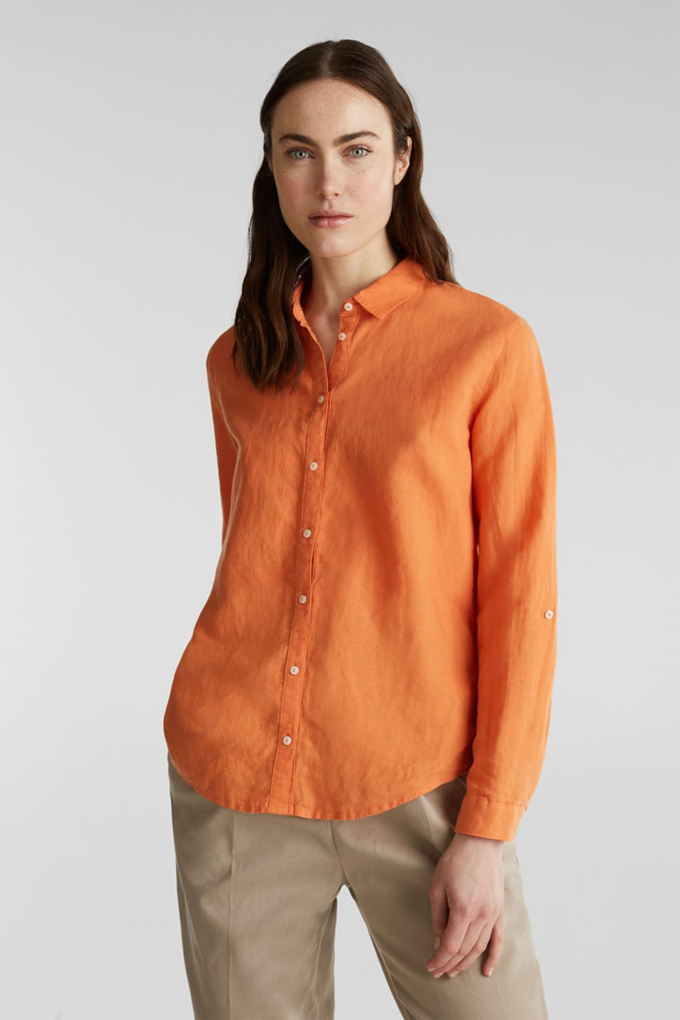 Linen blend: simply styled blouse, RUST ORANGE, detail image number 5