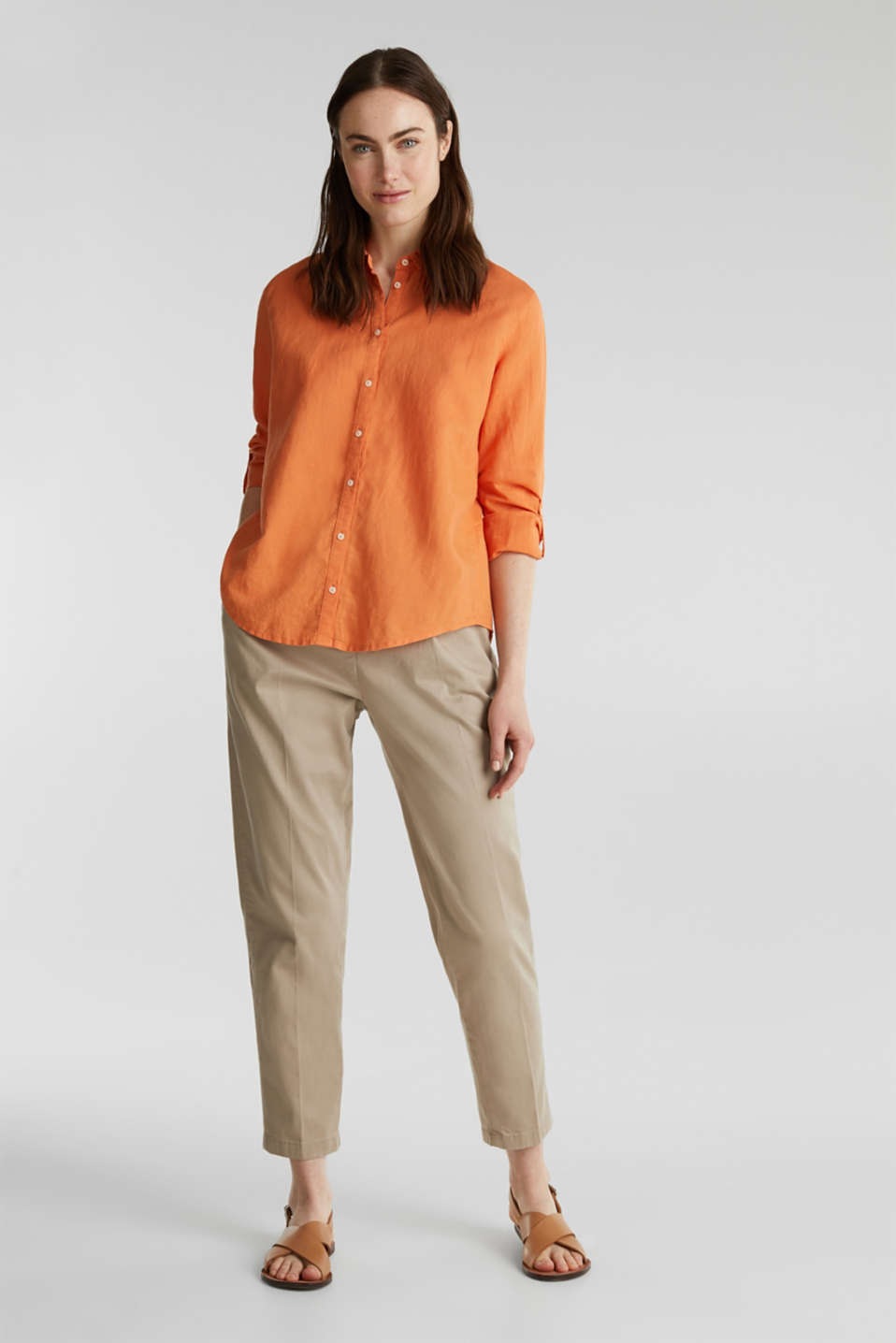 Linen blend: simply styled blouse, RUST ORANGE, detail image number 1