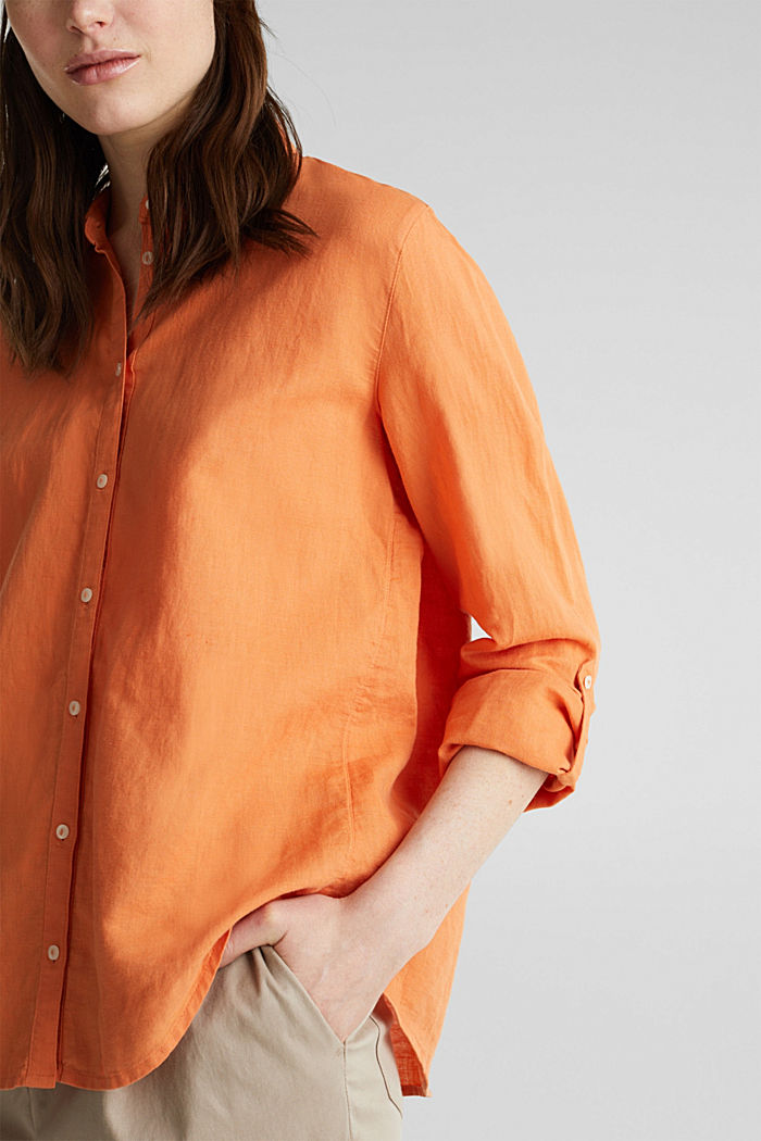 Linen blend: simply styled blouse, RUST ORANGE, detail image number 2