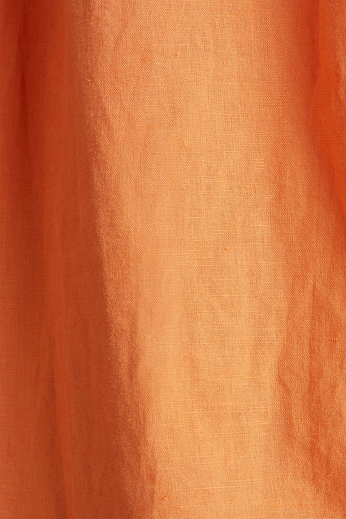 Linen blend: simply styled blouse, RUST ORANGE, detail image number 4