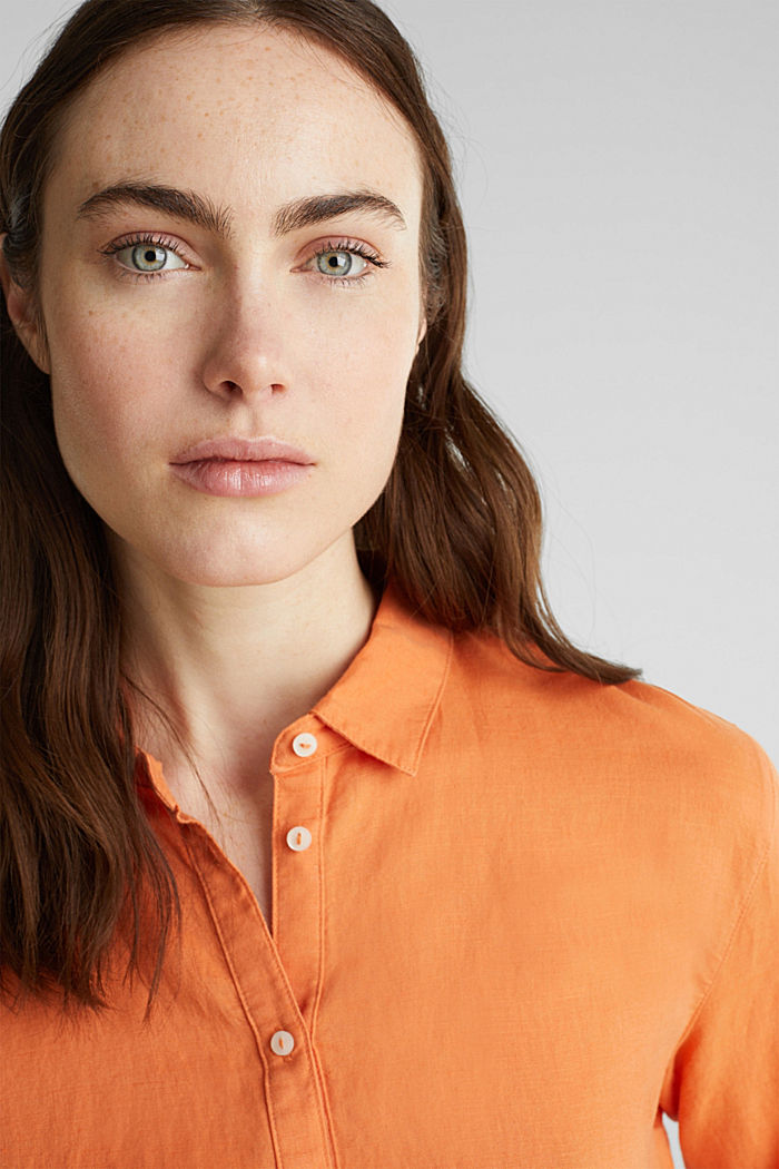Linen blend: simply styled blouse, RUST ORANGE, detail image number 6
