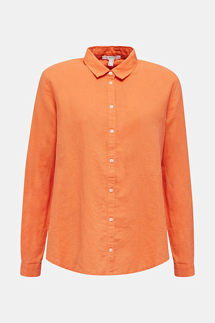 Linen blend: simply styled blouse, RUST ORANGE, detail image number 7