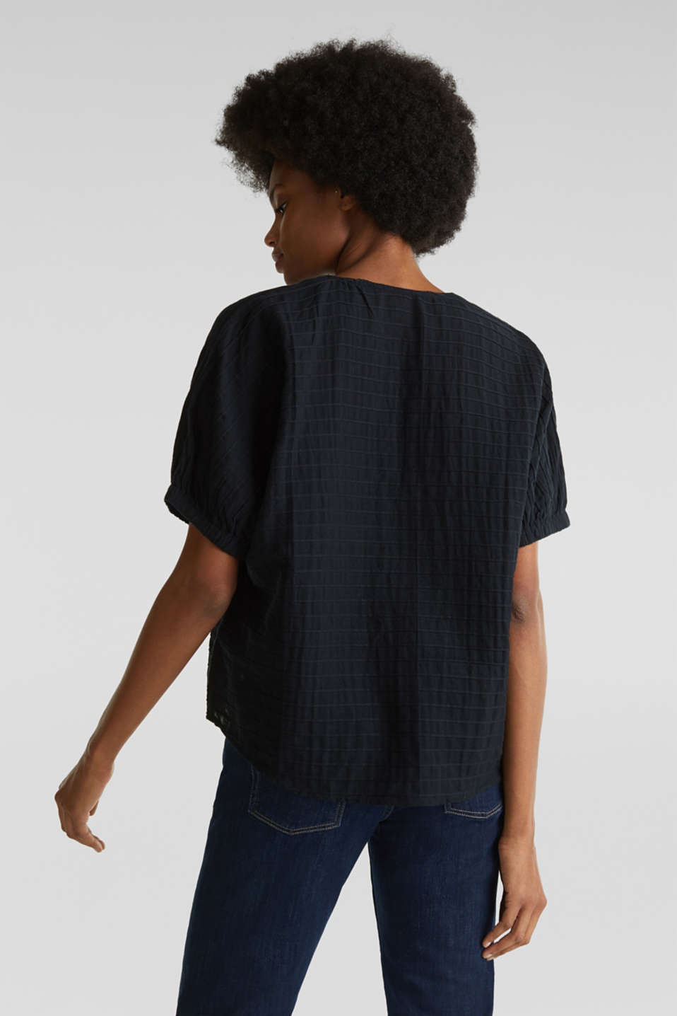 Boxy blouse made of 100% organic cotton, BLACK, detail image number 3