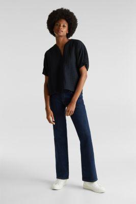 Boxy blouse made of 100% organic cotton, BLACK, detail
