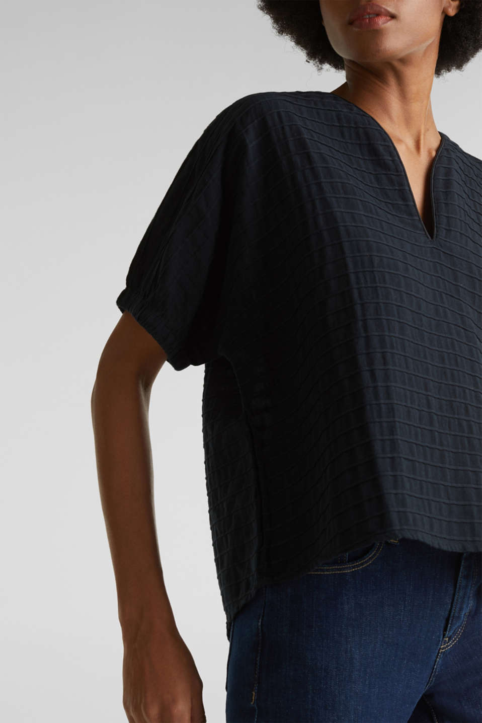 Boxy blouse made of 100% organic cotton, BLACK, detail image number 2