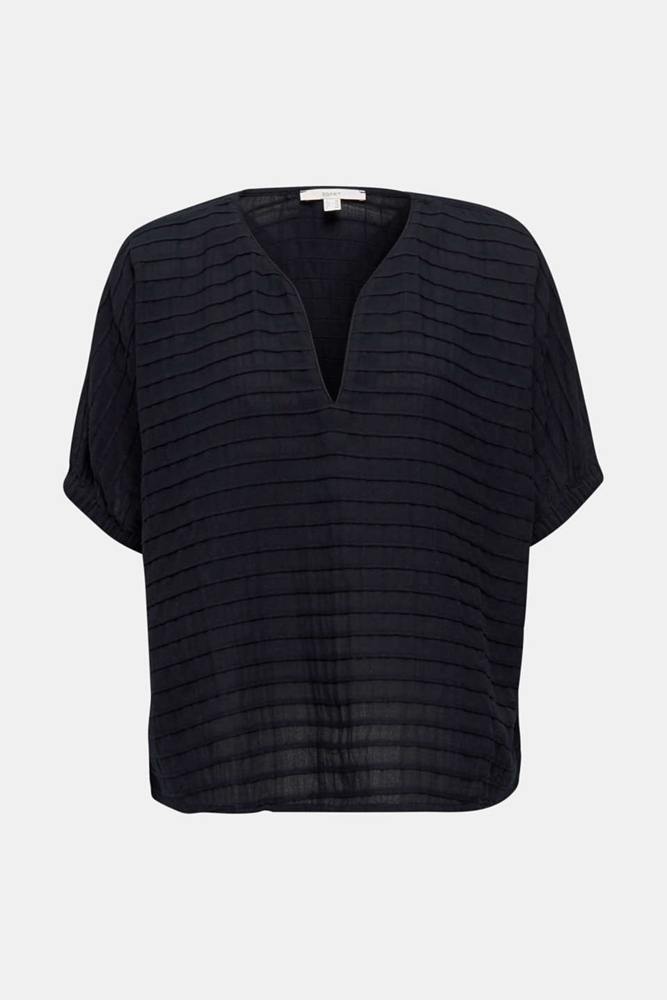 Boxy blouse made of 100% organic cotton, BLACK, detail image number 5