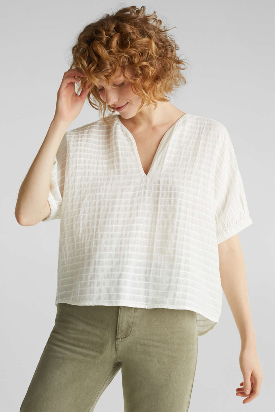 Esprit - Boxy blouse made of 100% organic cotton