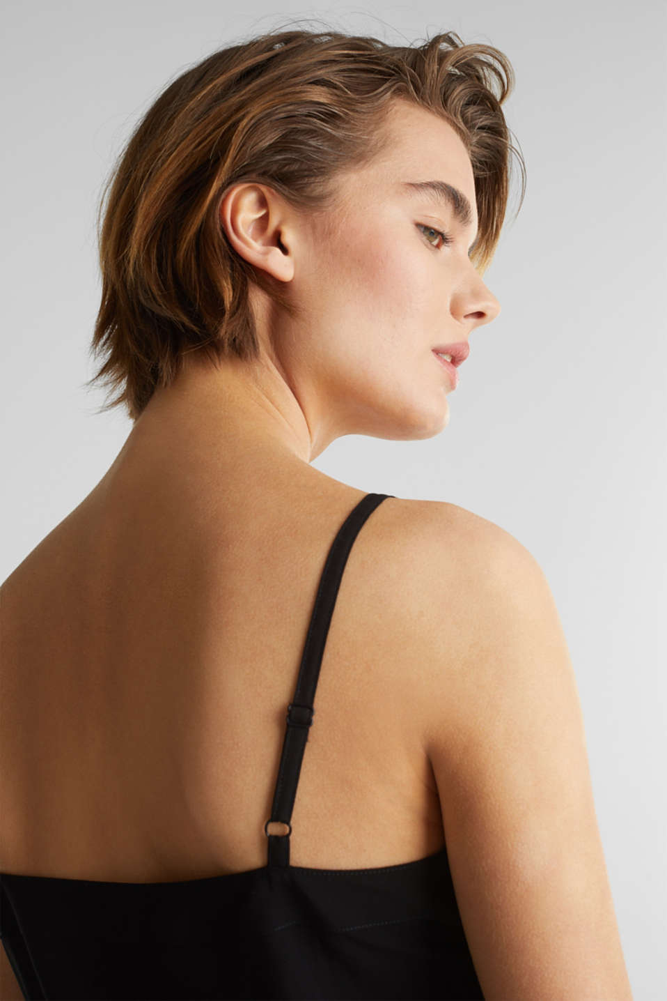 Strappy top made of LENZING™ ECOVERO™, BLACK, detail image number 4
