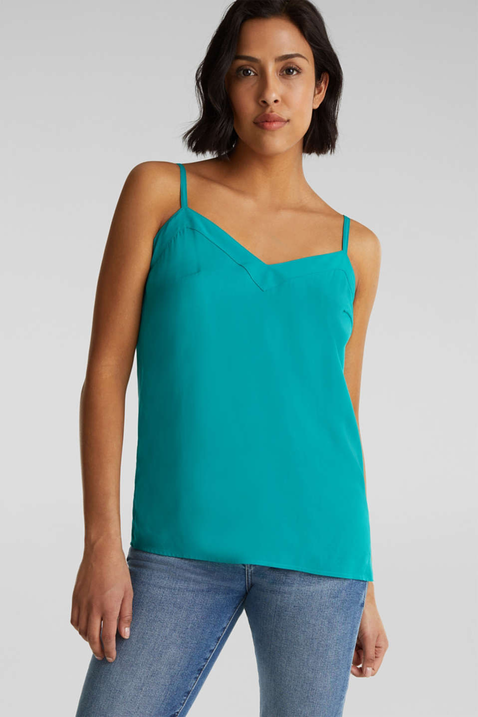Strappy top made of LENZING™ ECOVERO™, TEAL GREEN, detail image number 0