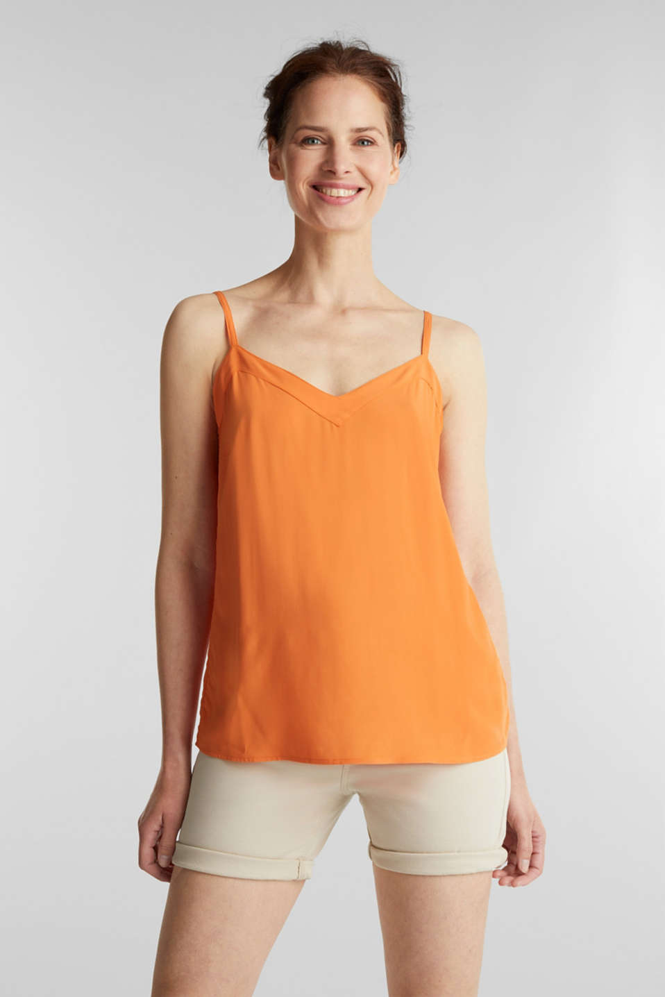 Strappy top made of LENZING™ ECOVERO™, RUST ORANGE, detail image number 0