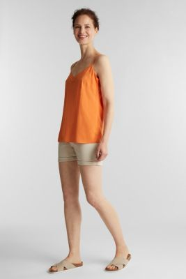 Strappy top made of LENZING™ ECOVERO™, RUST ORANGE, detail