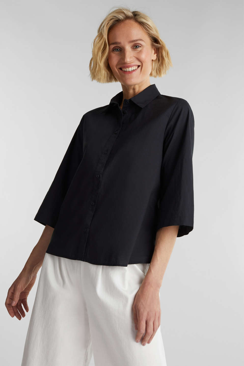 Blouse with 3/4-length sleeves, cotton, BLACK, detail image number 0