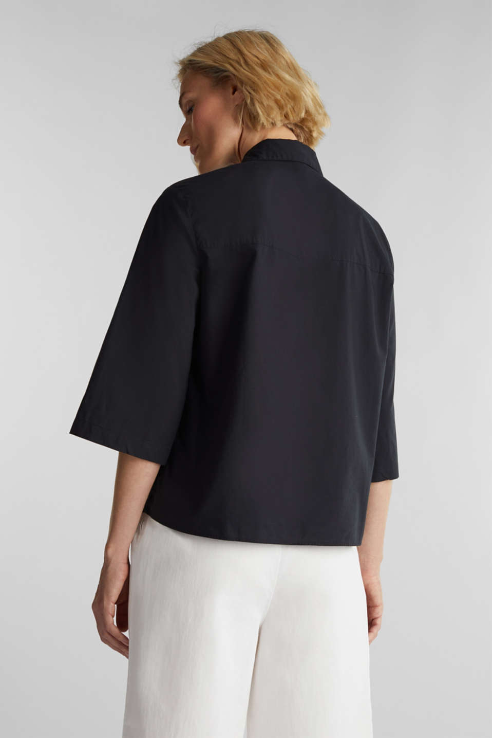 Blouse with 3/4-length sleeves, cotton, BLACK, detail image number 3