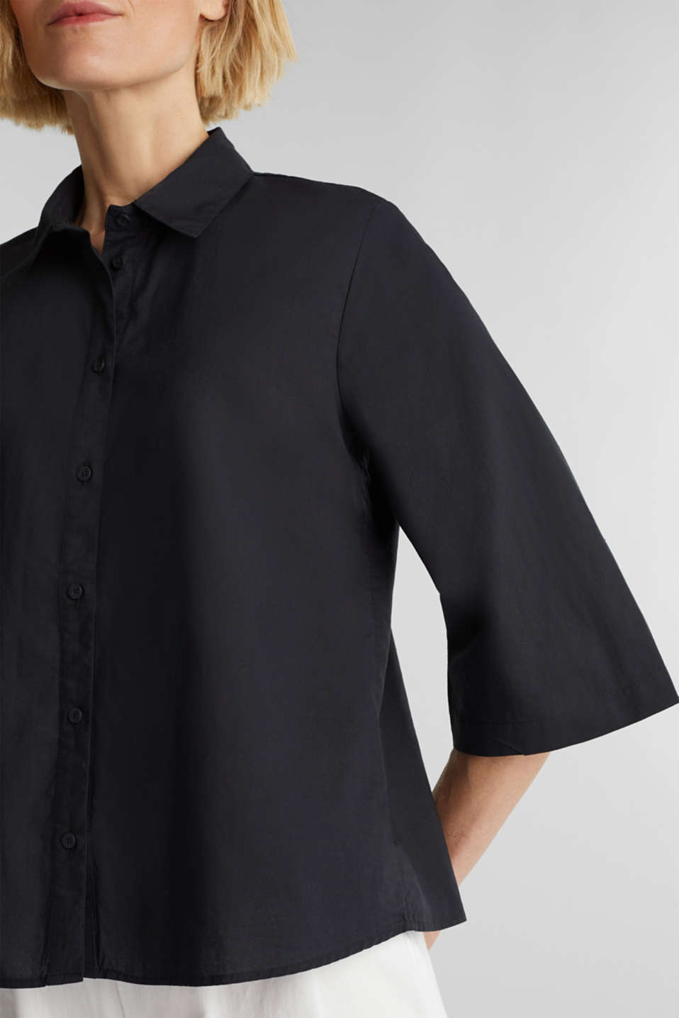 Blouse with 3/4-length sleeves, cotton, BLACK, detail image number 2