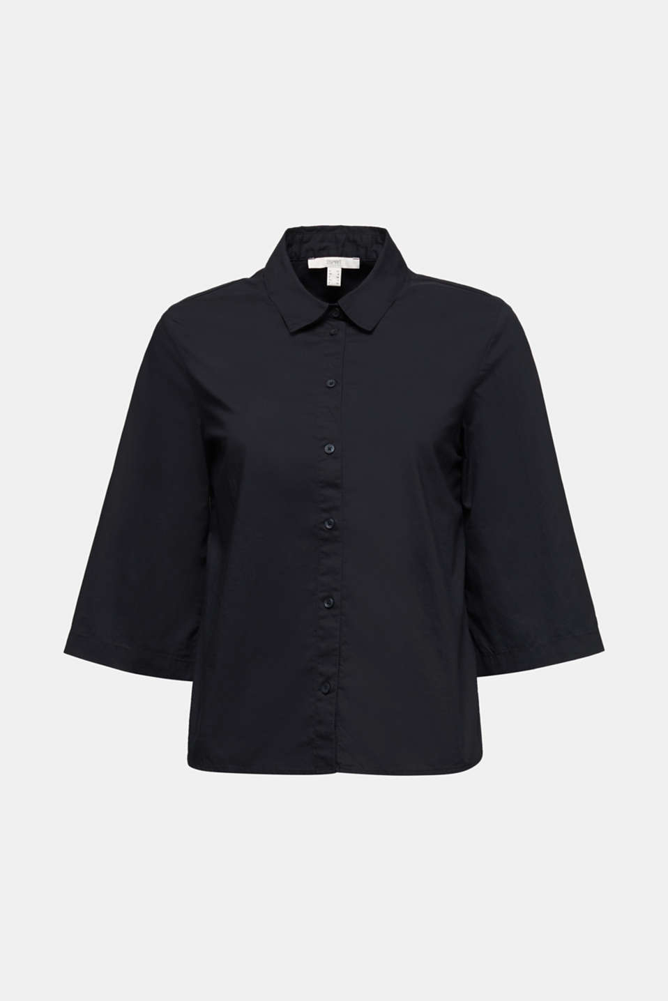 Blouse with 3/4-length sleeves, cotton, BLACK, detail image number 6