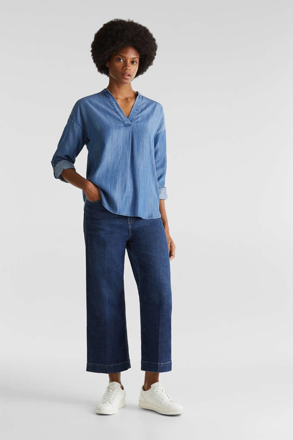Made of TENCEL™: denim blouse, BLUE LIGHT WASH, detail image number 6
