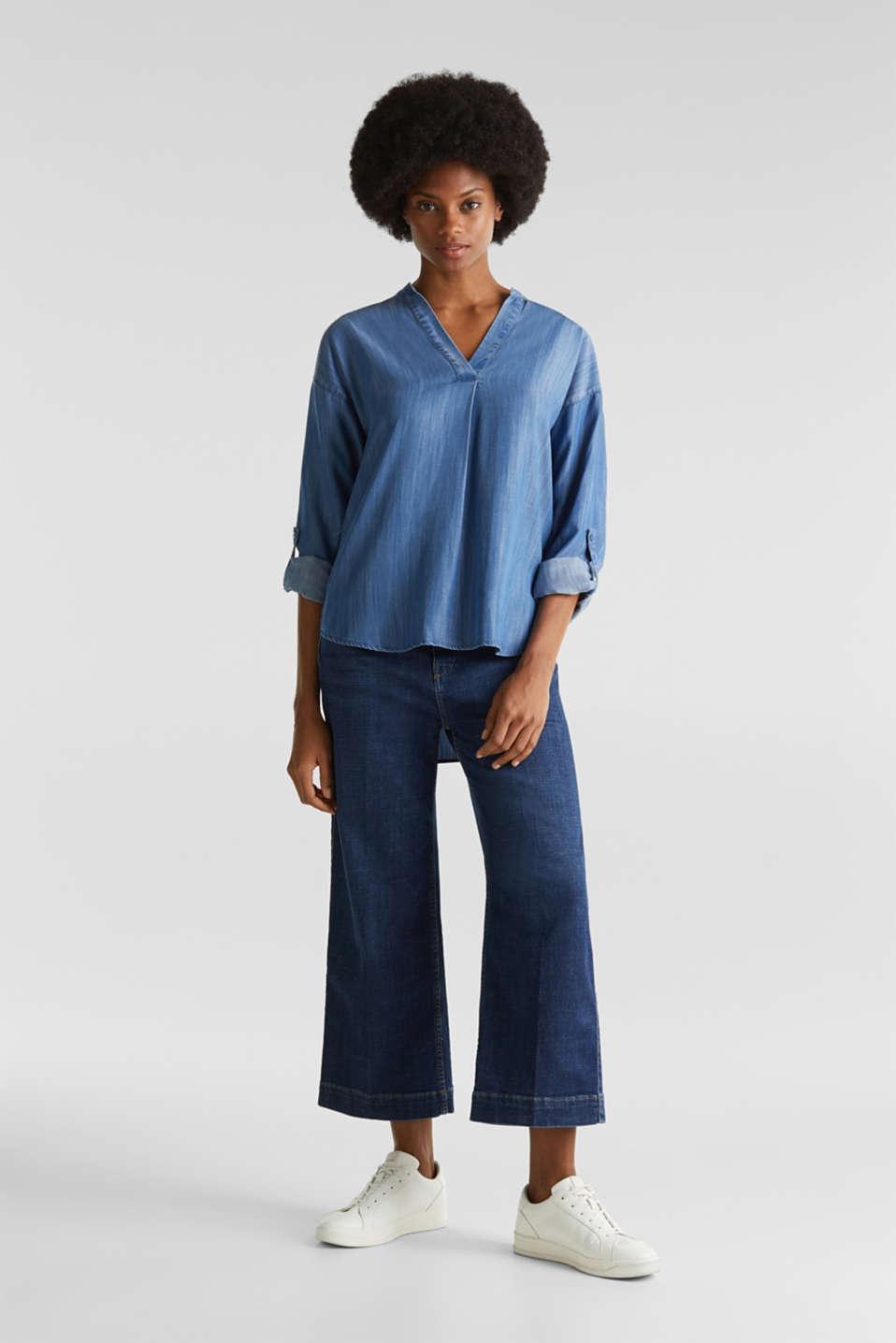 Made of TENCEL™: denim blouse, BLUE LIGHT WASH, detail image number 1