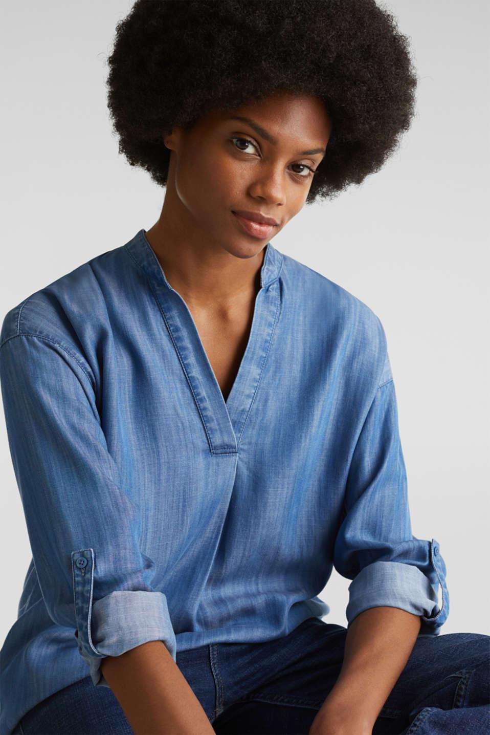 Made of TENCEL™: denim blouse, BLUE LIGHT WASH, detail image number 7