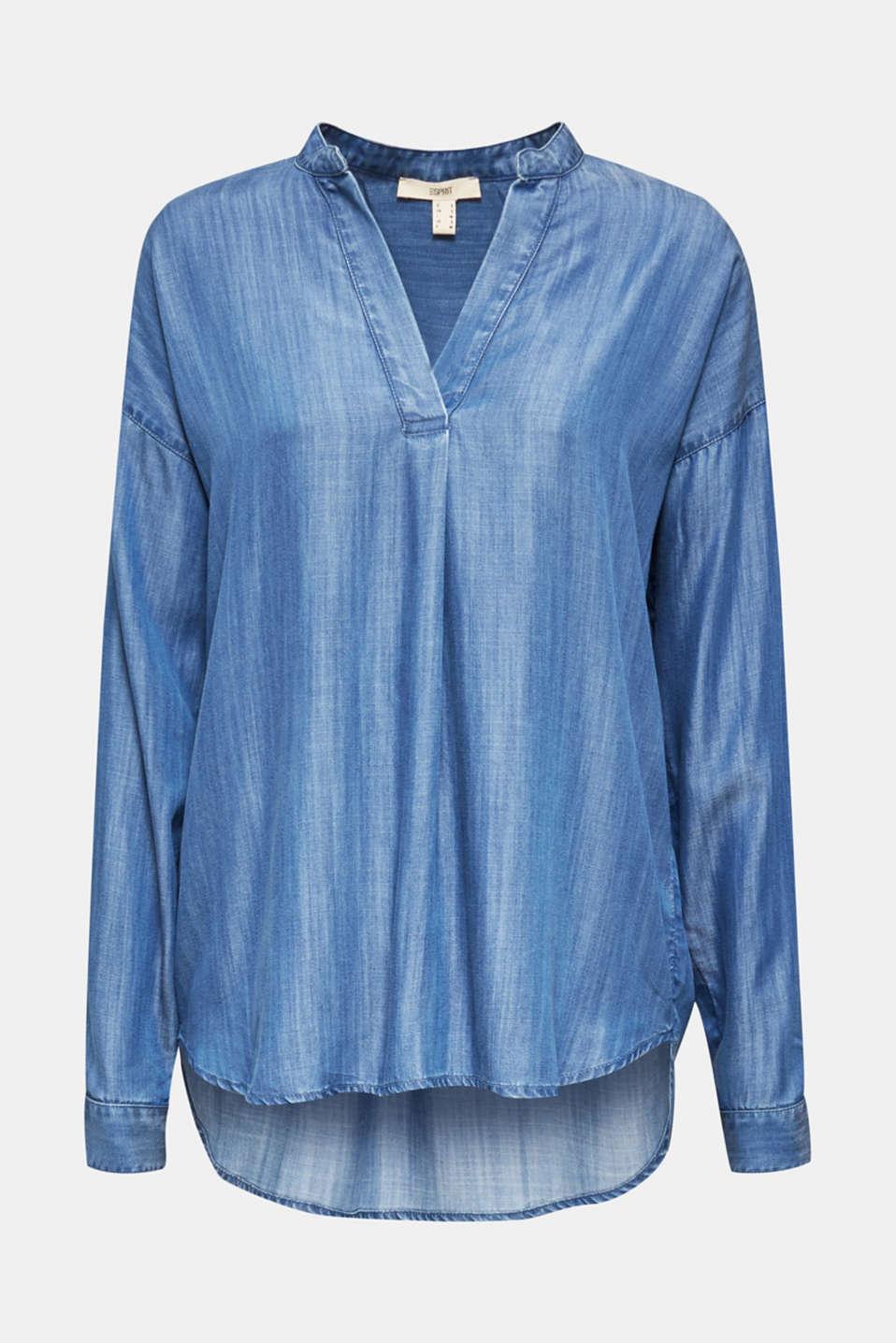 Made of TENCEL™: denim blouse, BLUE LIGHT WASH, detail image number 8